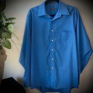 Geoffrey Beene Blue Cotton Button Down Shirt